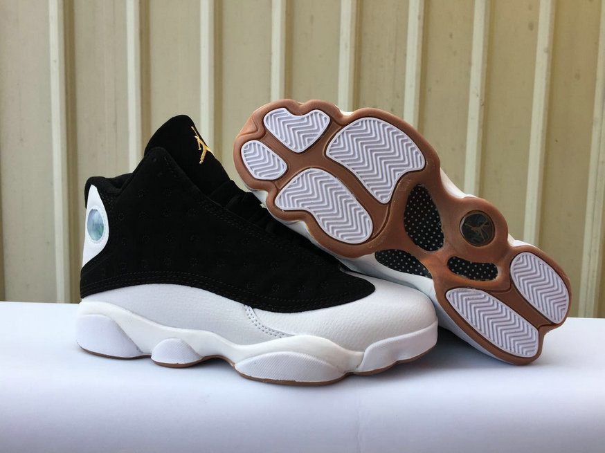Cheapest Wholesale Sale Nike Air Jordan 13 (XIII) Black White Gold For Mens
