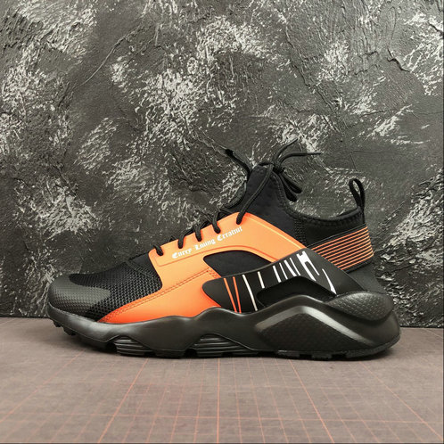 Wholesale Cheap 2019 Cheap NIKE AIR HUARACHE RUN ULTRA Black Orange Noir Orange 819685-058