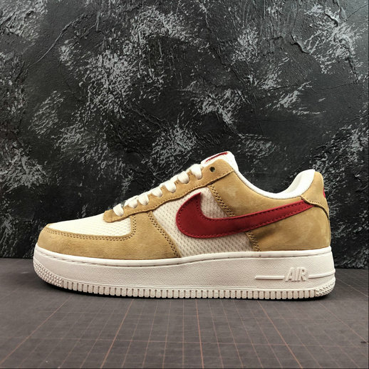 Wholesale Cheap 2019 Cheap Nike Air Force 1 Low Denim Pack Jersey Gold Sport Red White 488298-701