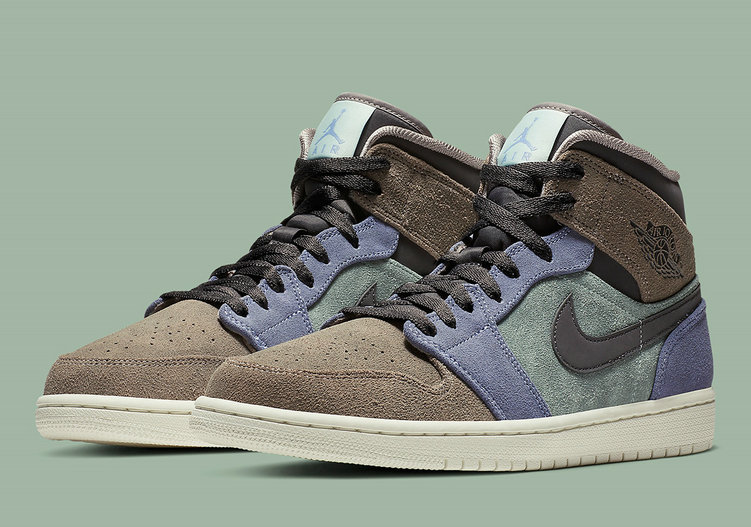 Wholesale Cheap 2019 Cheap Nike Air Jordan 1 Mid SE Pumice Thunder Grey Teal TINT Pierre Ponce Gris Tonnerre 852542-203