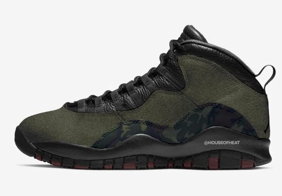 Wholesale 2019 Cheap Nike Air Jordan 10 Woodland Camo Medium Olive Black-Dark Army-Dark Cinder 310805-201
