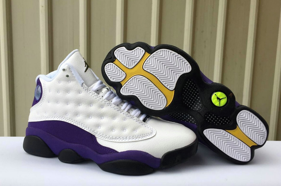Wholesale Cheap 2019 Cheap Nike Air Jordan 13 Lakers White Black-Court Purple-University Gold