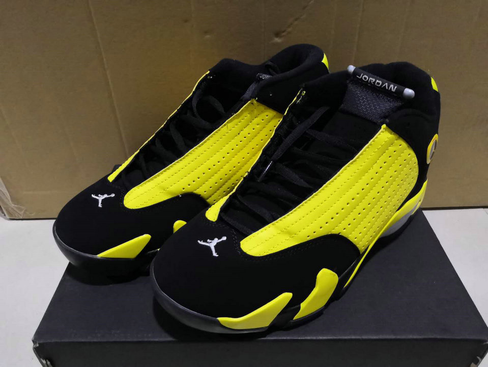 Wholesale Cheap 2019 Cheap Nike Air Jordan 14 Retro Thunder Black Vibrant Yellow-White 487471 070