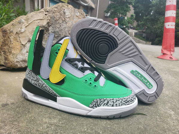 Wholesale Cheap 2019 Cheap Nike Air Jordan 3 MVP Green Grey Yellow White Black