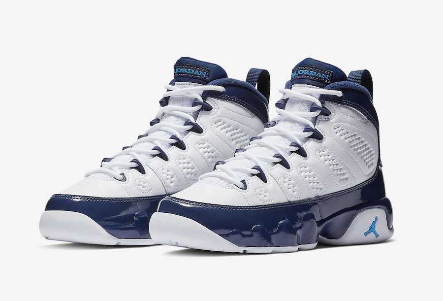 Wholesale 2019 Cheap Nike Air Jordan 9 White Midnight Navy-University Blue 302370-145