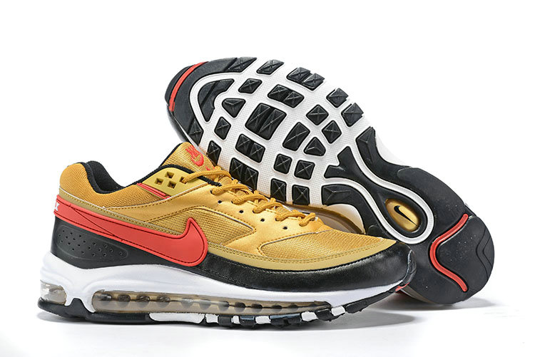 Wholesale Cheap 2019 Cheap Nike Air Max 97 Just DO IT Red Gold Black White