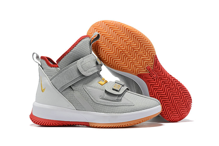 Wholesale Cheap 2019 Cheap Nike Air Zoon Lebron Soldier 13 XIII Grey Gold Red White