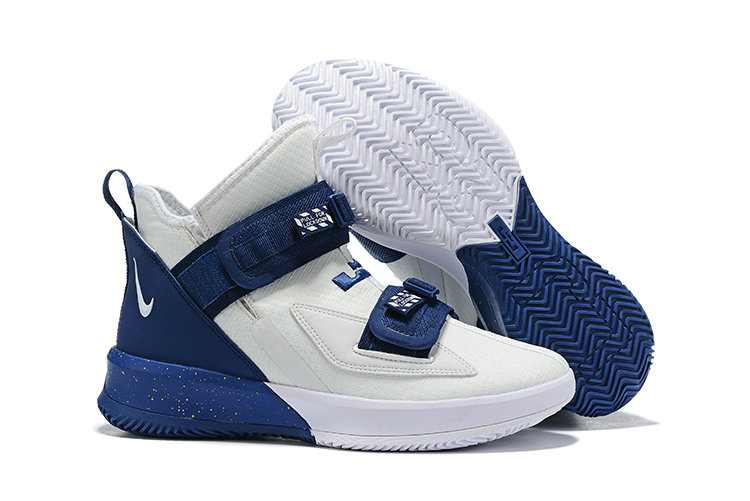 Wholesale Cheap 2019 Cheap Nike Air Zoon Lebron Soldier 13 XIII White Navy Blue
