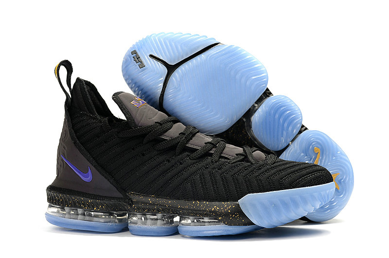 Wholesale Cheap 2019 Cheap Nike LeBron 16 Glow In The Dark Black Gold Photo Blue