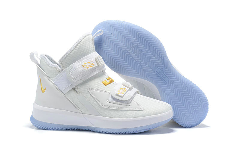 Wholesale Cheap 2019 Cheap Nike LeBron Soldier 13 Court General White and Metallic Gold