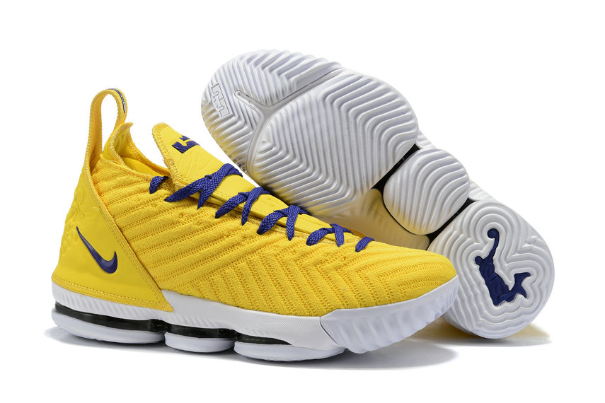 Wholesale Cheap 2019 Cheap Nike Lebron 16 Im King Harlem Stage Yellow Blue White