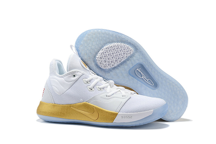 Wholesale Cheap 2019 Cheap Nike PG 3 NASA White Metallic Gold CI8973-100