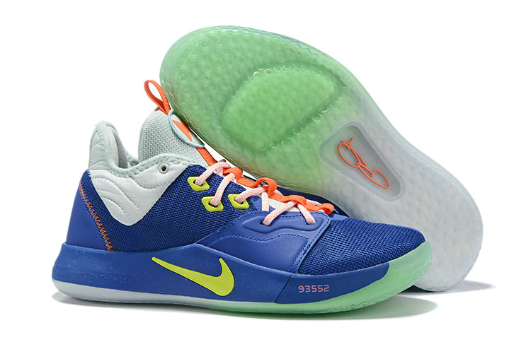 Wholesale Cheap 2019 Cheap Nike PG 3 Royal Blue Cool Grey-Volt For Sale
