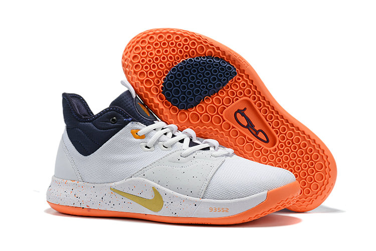 Wholesale Cheap 2019 Cheap Nike PG 3 White Navy Blue Gold Team Orange