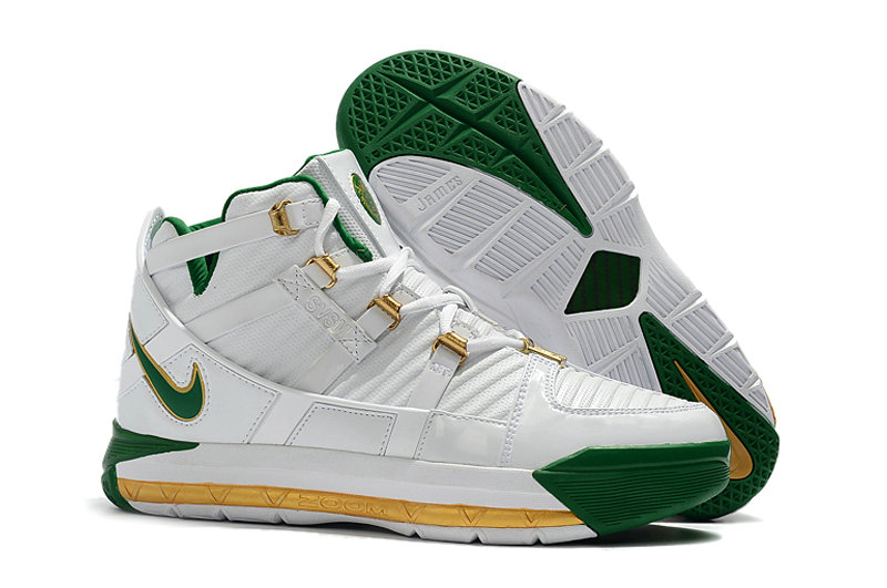 Wholesale Cheap 2019 Cheap Nike Zoom LeBron 3 QS SVSM Home White-Deep Forest-Gold Dust AO2434-102