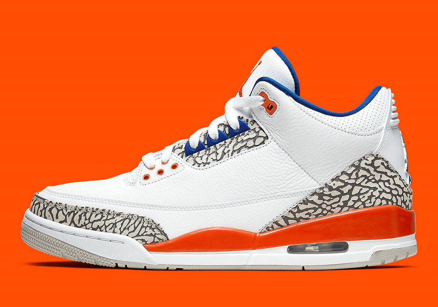 2019 Where To Buy Wholesale Cheap Nike Air Jordan 3 Knicks White Old Royal-University Orange-Tech Grey 136064-148