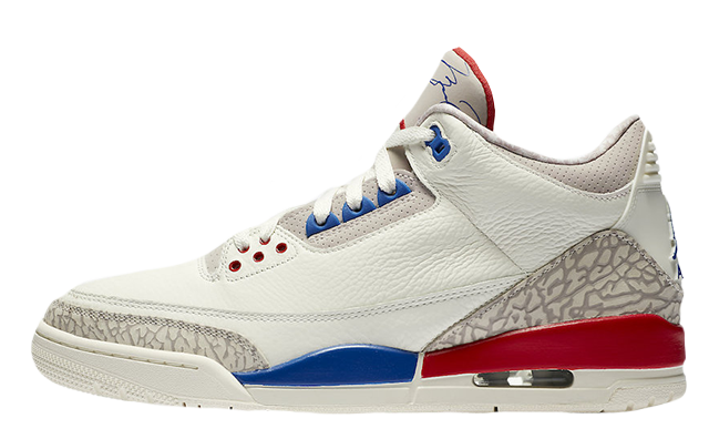 2019 Where To Buy Wholesale Cheap Nike Air Jordan 3 USA Sail Sport Royal-Fire Red 136064-140
