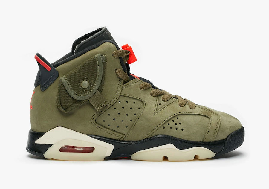 2019 Where To Buy Wholesale Cheap Nike Air Jordan 6 x Travis Scott Medium Olive Black-Sail-University Red CN1085-200