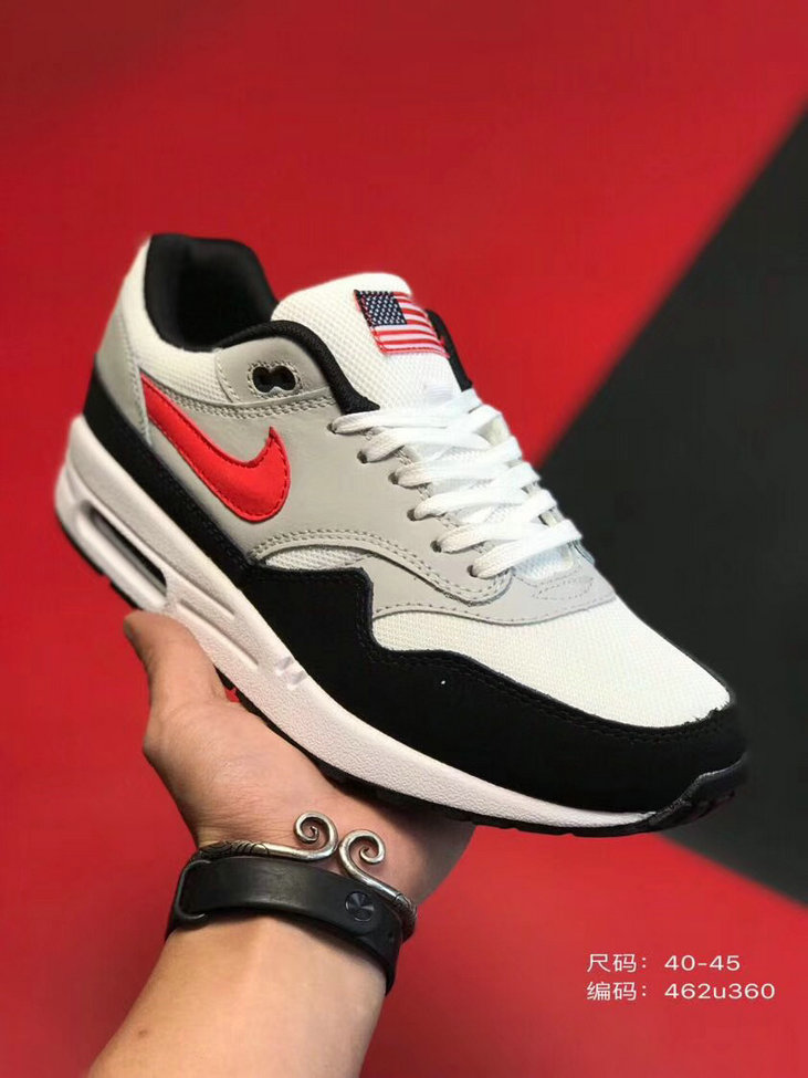 2019 Where To Buy Wholesale Cheap Nike Air Max 1 87 Black Grey Red White