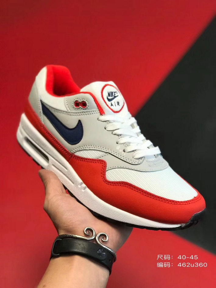 2019 Where To Buy Wholesale Cheap Nike Air Max 1 87 University Red Black Grey White