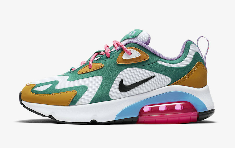 2019 Where To Buy Wholesale Cheap Nike Air Max 200 Mystic Green White-Gold Suede AT6175-300