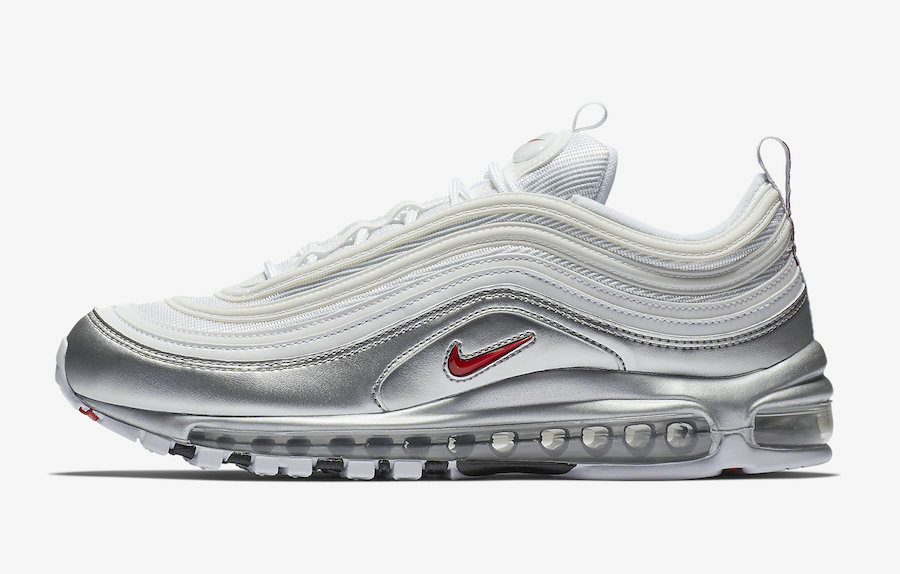 2019 Where To Buy Wholesale Cheap Nike Air Max 97 QS White Varsity Red-Metallic Silver-Black AT5458-100