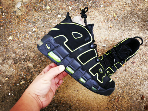 2019 Where To Buy Wholesale Cheap Nike Air More Uptempo Fluorescent Green Navy Blue