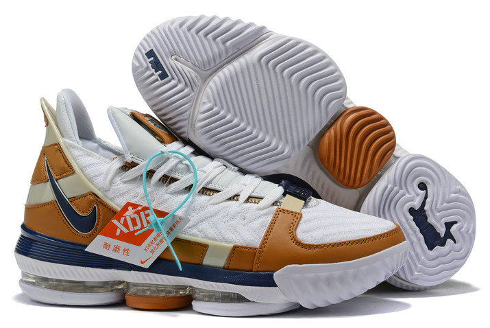 2019 Where To Buy Wholesale Cheap Nike LeBron 16 Air Trainer White Midnight Navy-Ginger CD7089-100