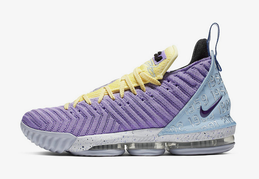 2019 Where To Buy Wholesale Cheap Nike LeBron 16 Heritage Atomic Violet Bicycle Yellow-Half Blue CK4765-500