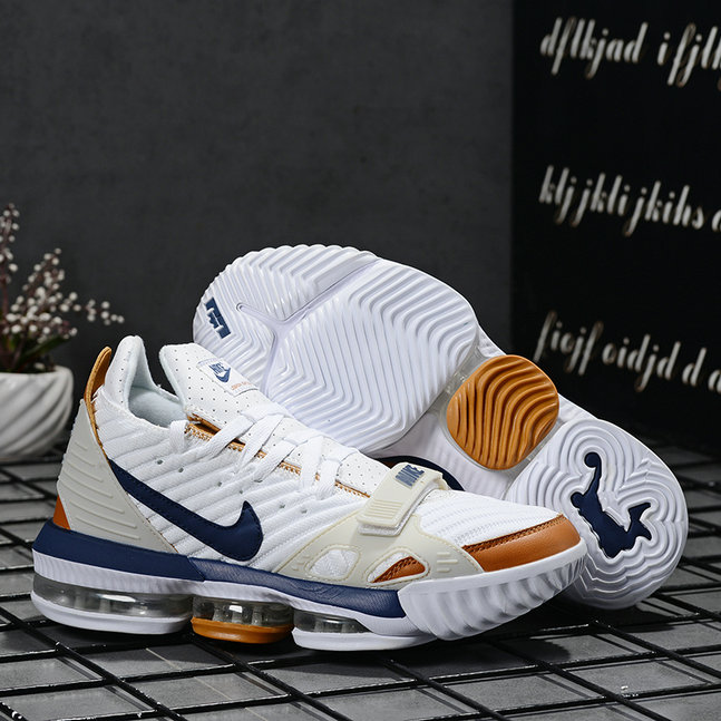 2019 Where To Buy Wholesale Cheap Nike LeBron 16 White Gold Navy Blue