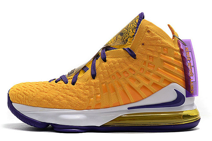 2020 Wholesale Cheap Mismatched Nike LeBron 17 Lakers Media Day Purple Yellow
