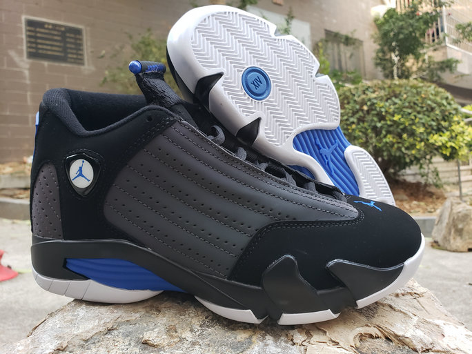 2020 Wholesale Cheap Nike Air Jordan 14 Retro Black Blue Grey