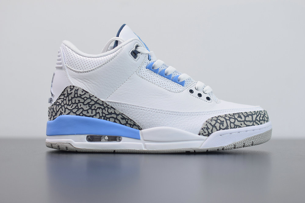2020 Wholesale Cheap Nike Air Jordan 3 UNC White Valor Blue-Tech Grey CT8532-104