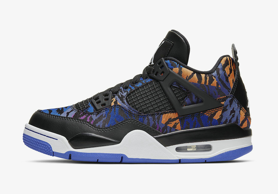2020 Wholesale Cheap Nike Air Jordan 4 SE Black White-Rush Violet-Racer Blue BQ9043-005