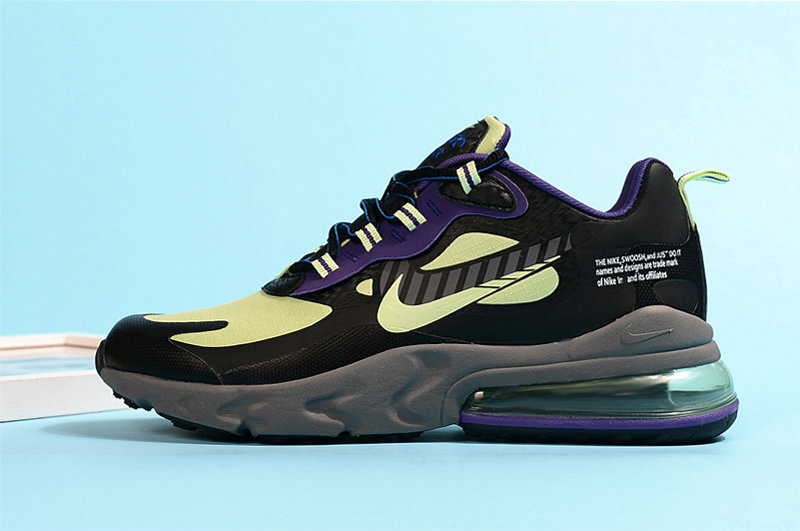 2020 Wholesale Cheap Nike Air Max 270 React Fluorescent Green Purple Black Grey