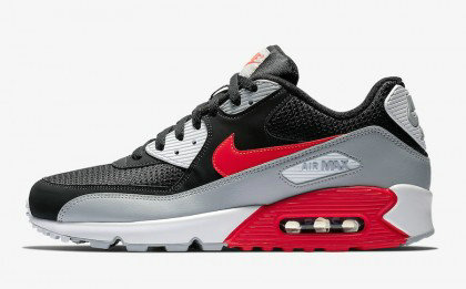 2020 Wholesale Cheap Nike Air Max 90 Black Grey Neon Red AJ1285-012