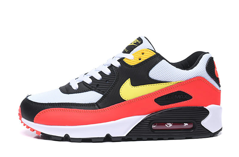 2020 Wholesale Cheap Nike Air Max 90 Black Yellow Crimson AJ1285-109