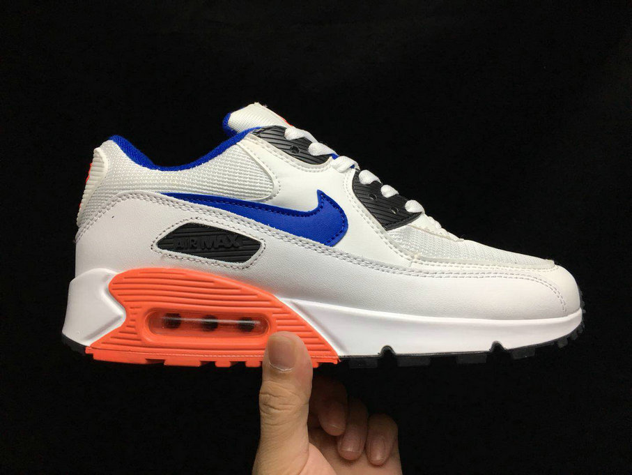 2020 Wholesale Cheap Nike Air Max 90 Essential White Ultramarine-solar Red-Black 537384-136