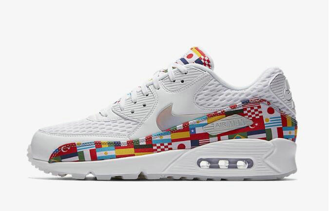 2020 Wholesale Cheap Nike Air Max 90 NIC QS International Flag White Multi AO5119-100