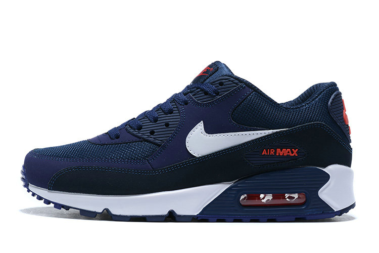2020 Wholesale Cheap Nike Air Max 90 Navy Blue White AJ1285-403 Unisex Running Shoes AJ1285-403