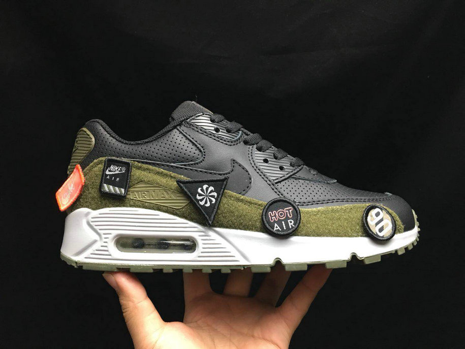 2020 Wholesale Cheap Nike Air Max 90 Ultra 2. 0 LTR Black Olive Green White AA9974 002