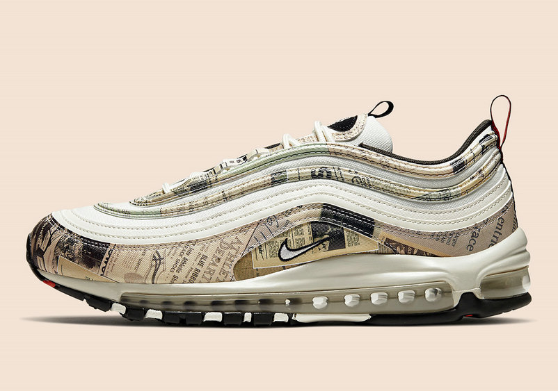 2020 Wholesale Cheap Nike Air Max 97 Newspaper Sail Black Team Orange White 921826-108
