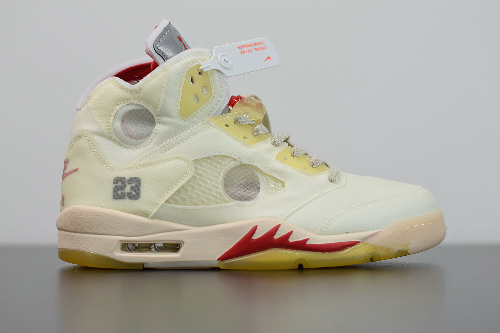 2020 Wholesale Cheap OFF-WHITE x Nike Air Jordan 5 Yellow White Muslin Jaune Mousseline Blanc CT8480-002