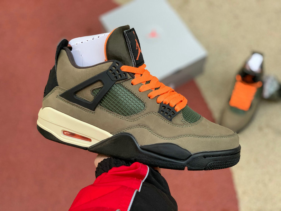 2020 Wholesale Cheap UNDEFEATED x Air Jordan 4 Travis Scott Deep Green Clementine Black WH