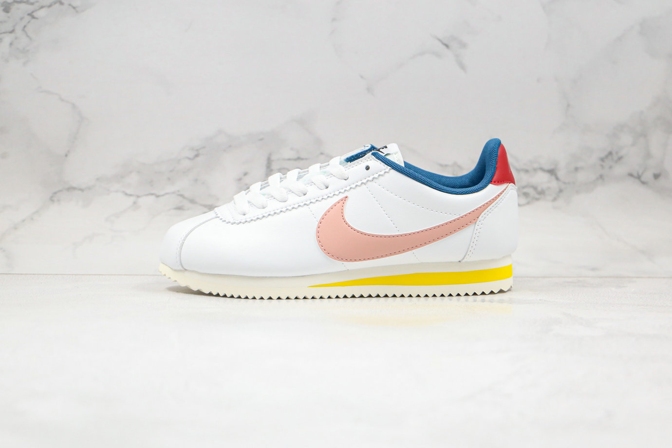 2020 Cheapest Nike Classic Cortez Leather Summit White Coral Stardust 807471-114