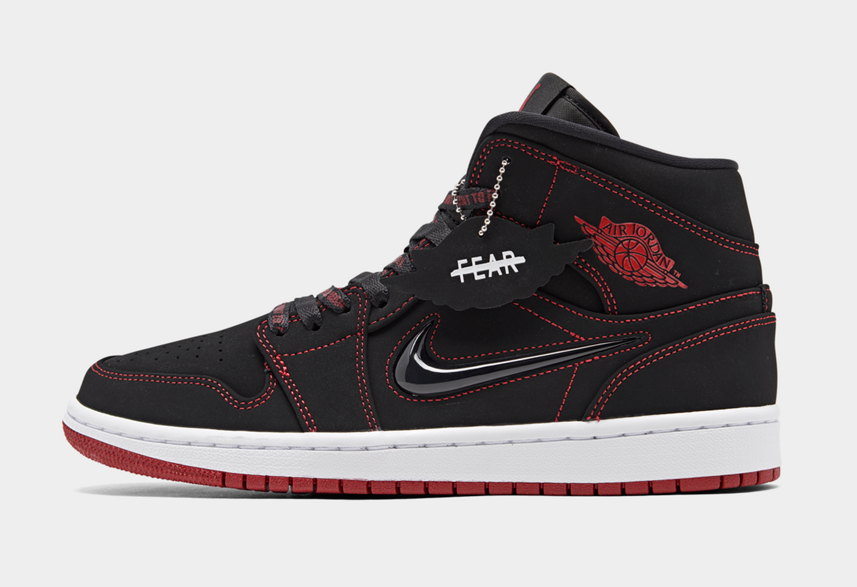 2020 Womens Wholesale Cheap Nike Air Jordan 1 Mid Come Fly With Me Black Gym Red White Noir Blanc Rouge Gym CK5665-062