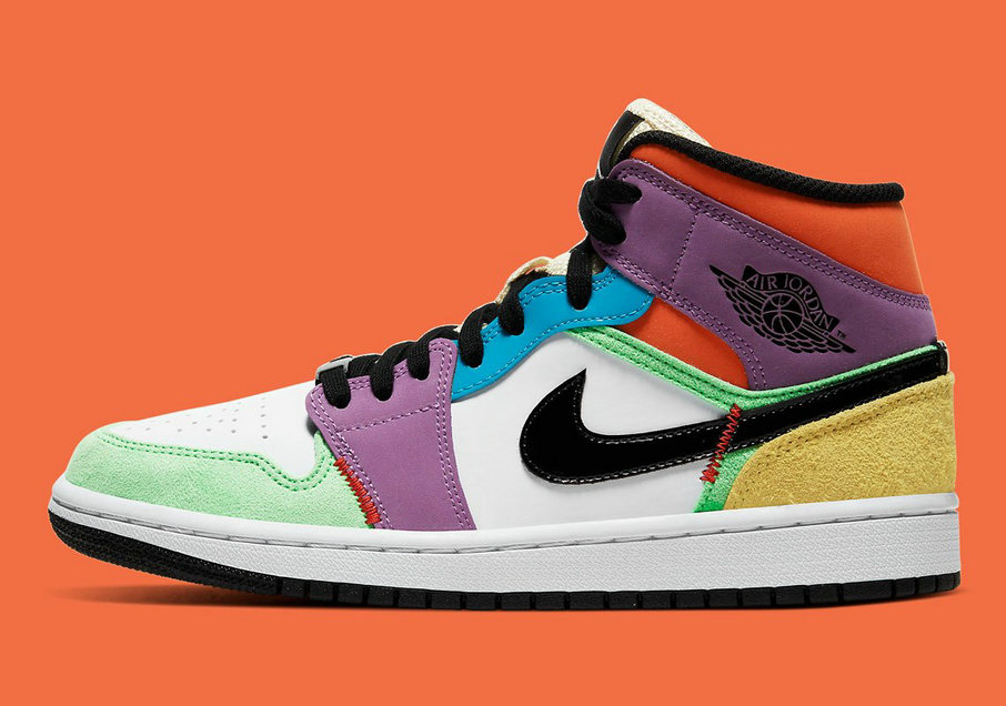 2020 Womens Wholesale Cheap Nike Air Jordan 1 Mid SE Multicolor White Black-Lightbulb-Team Orange CW1140-100