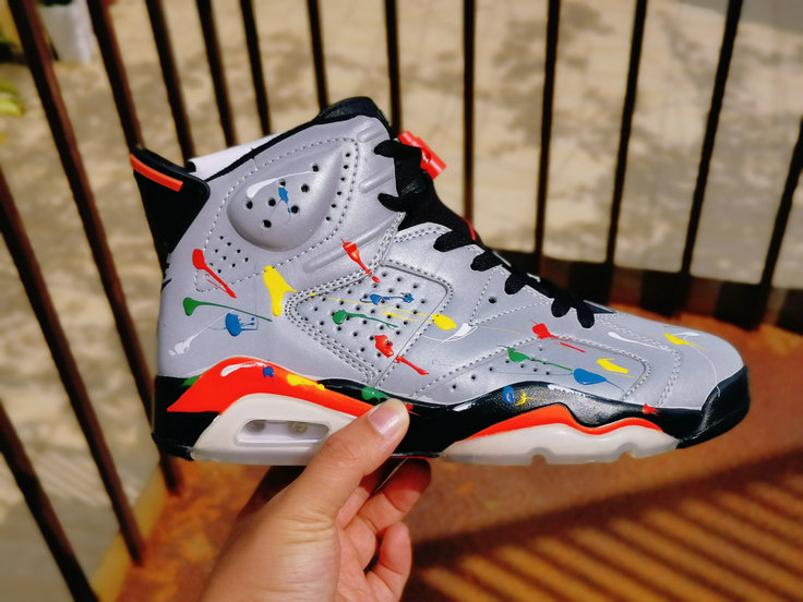 2020 Womens Wholesale Cheap Nike Air Jordan 6 3M Colorful Splash Ink