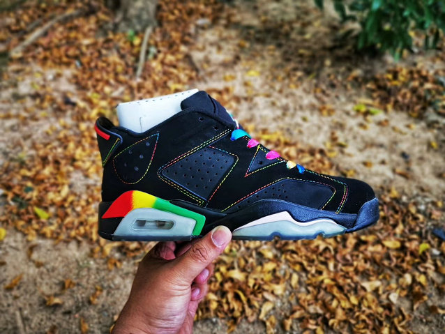 2020 Womens Wholesale Cheap Nike Air Jordan 6 Retro Black Colorful