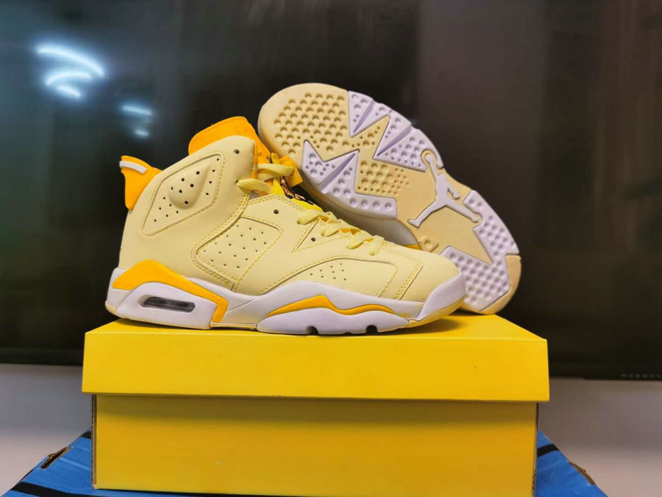 2020 Womens Wholesale Cheap Nike Air Jordan 6 Retro Yellow Gold White